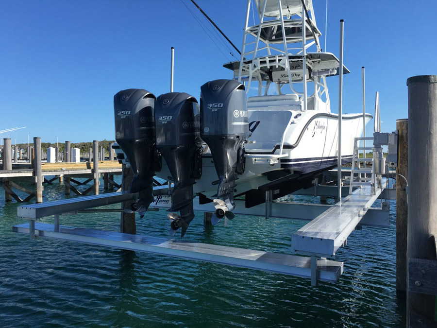 30K Custom Beamless Lift w/ Cat Walk & Drop Down Stern Walk with Boarding Stair for 42' Yellowfin