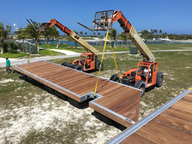 Unloading and Assembly of Floating Dock